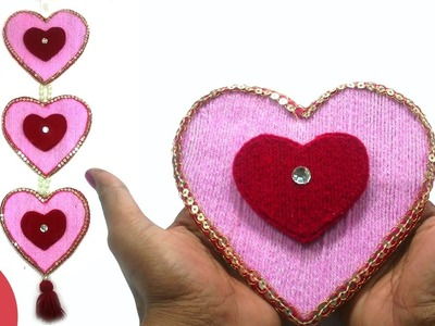 DIY Heart Shape Woolen Wall Hanging Design for Home Decore