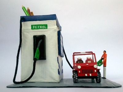 DIY Let's make a petrol pump as a pen-stand from newspaper -RDCrafts
