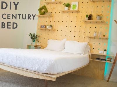 DIY Mid Century Modern Platform Bed With Light Up Headboard!   Woodworking