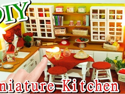 DIY Miniature Dollhouse Kit Kitchen Room With Led Lights