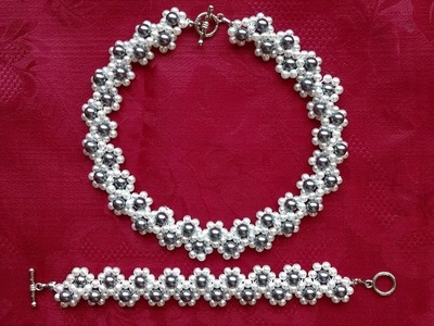 DIY pearl jewelry set. Jewely beading pattern -Ideas for Beginners