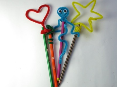 DIY Pipe Cleaner Pencil Toppers. Easy Crafts for Kids.