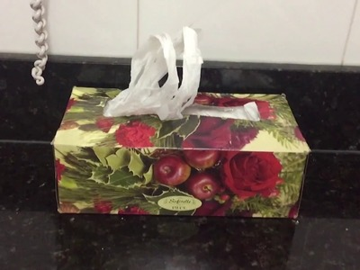 DIY Plastic.grocery bag holder. Dispenser easy and organize you kitchen   Recycle tissue box