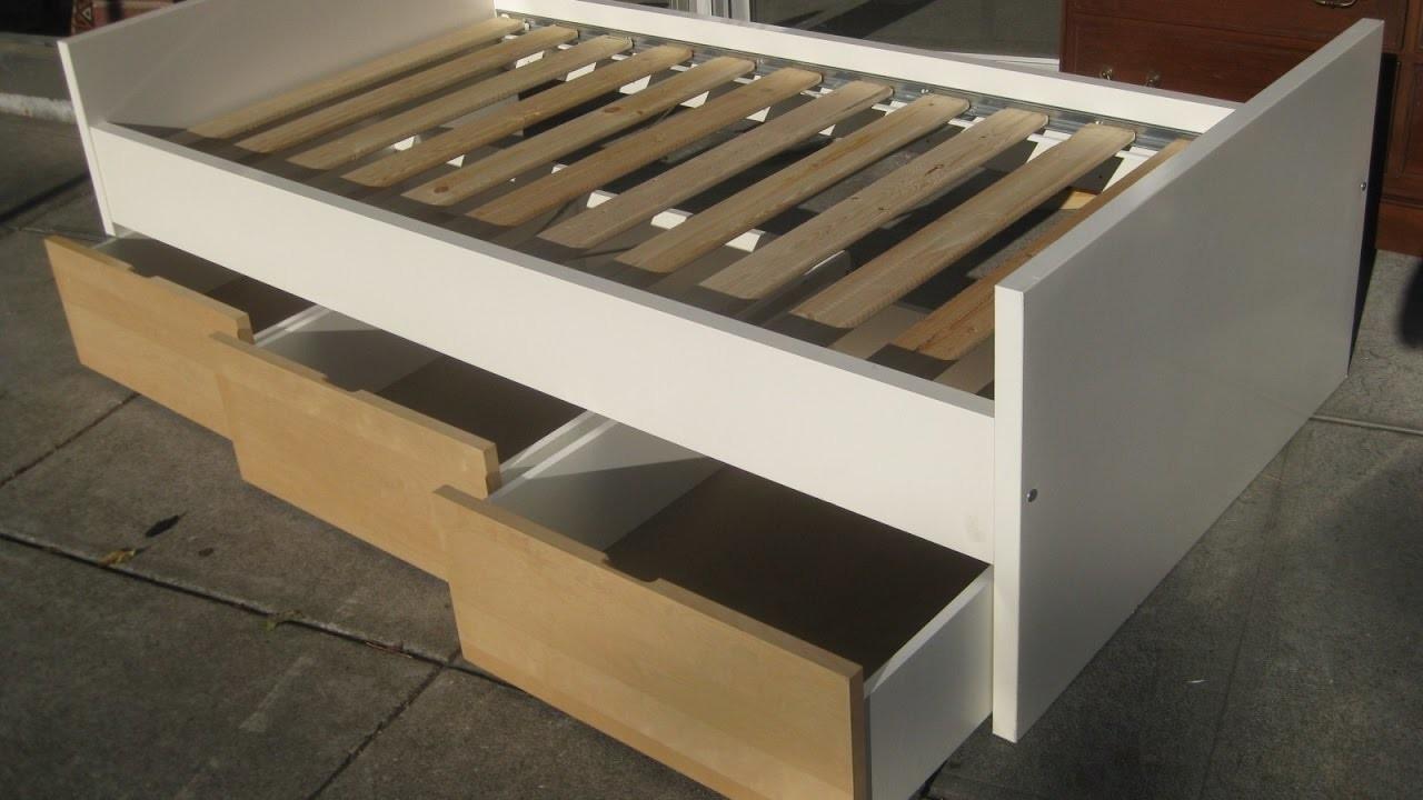 Diy platform bed frame with storage for Storage platform bed diy