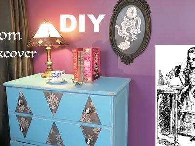DIY room makeover Alice in Wonderland inspired