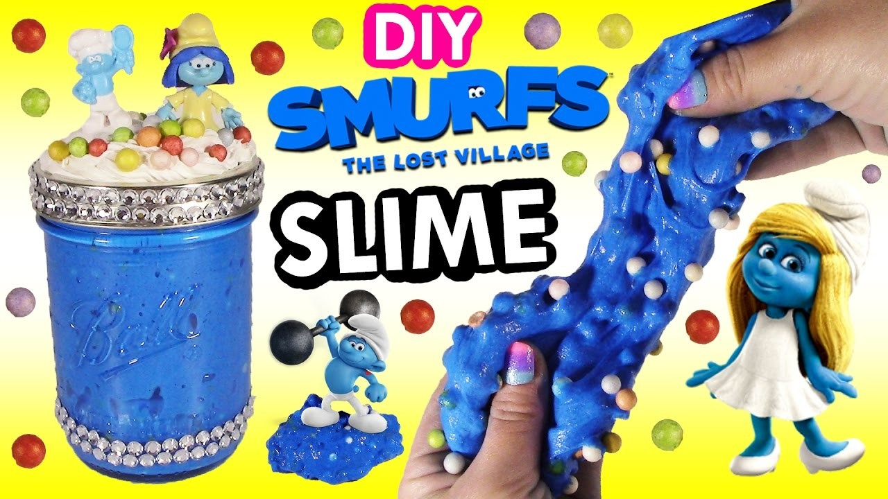 DIY SMURFS The Lost Village Glitter SLIME! Make Your Own Squishy Stretchy Putty SLIME! Decorate JAR!