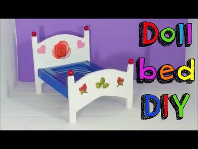 EASY CRAFTS DIY   MINIATURE BED FOR DOLL HOUSE   HOMEMADE TOYS