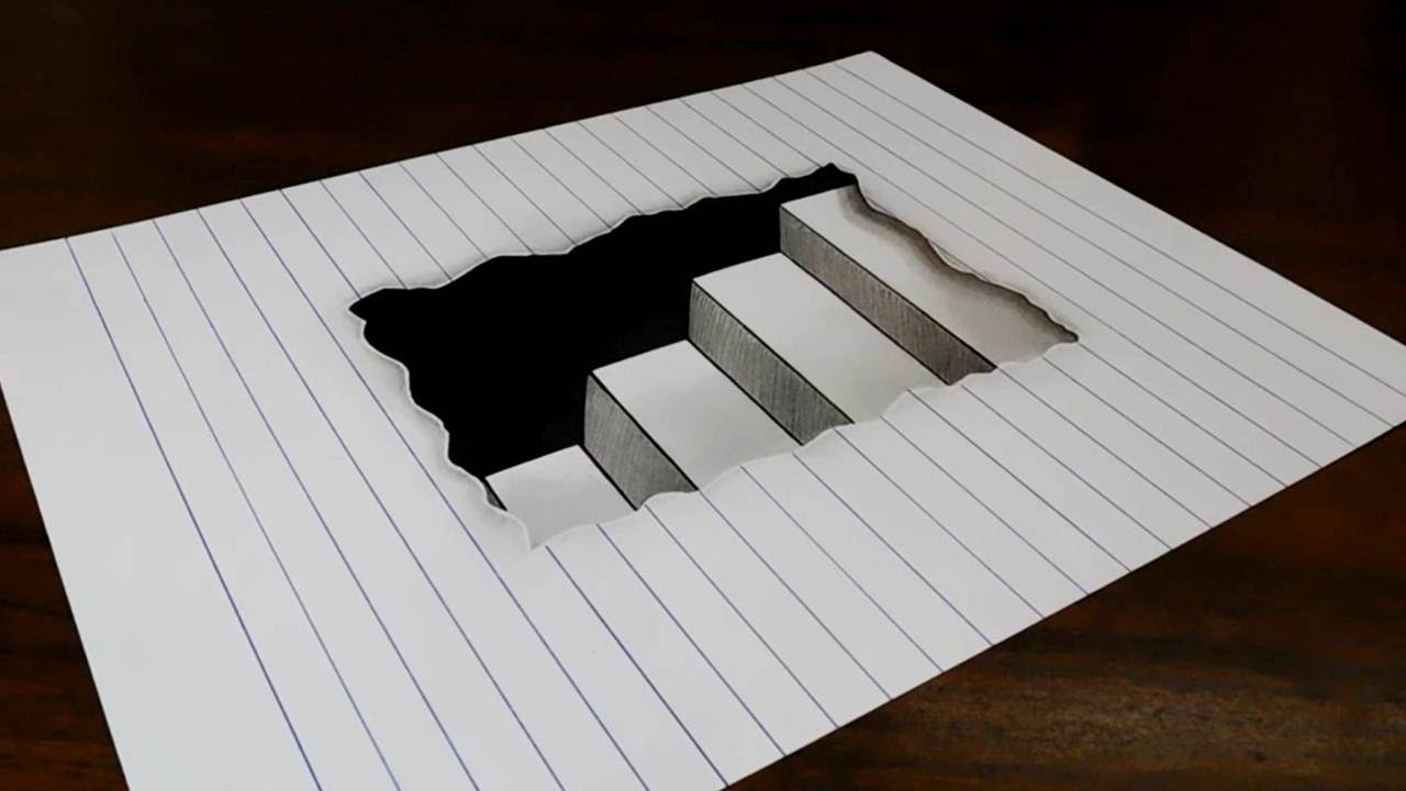 How to Draw 3D Steps in Line Paper - Easy Trick Art for Kids