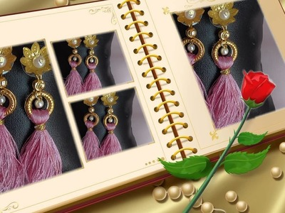 How to make beautiful silk thread tassel earring| DIY earrings |Home tutorials|making party earrings