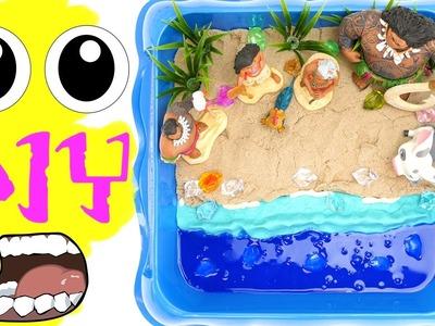 Moana Shiny Beach DIY with Play-Doh Kinetic Sand Slime & Gems. Disney Moana Maui Pua Beach Scene!