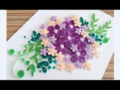 Paper Quilling Flower Card For beginner Learning Video 13. Paper Flower Card