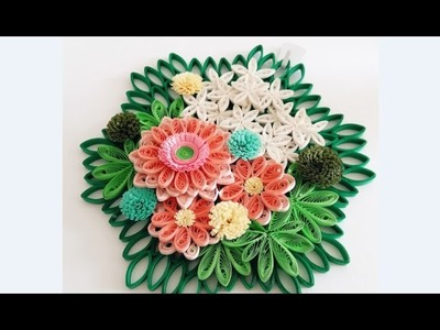 Paper Quilling Flower for Wall Hanging Decoration 20. DIY Wall Decoration.Paper Flower Art