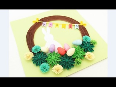 Paper Quilling Wreath for Easter 4.Paper  Quilling Easter Home Decoration