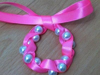 Ribbon and pearl bracelet .DIY