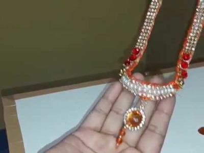 Silk thread long necklace.HowTo Make Bridal Necklace.Designer Necklace set.DIY Necklace set Tutorial