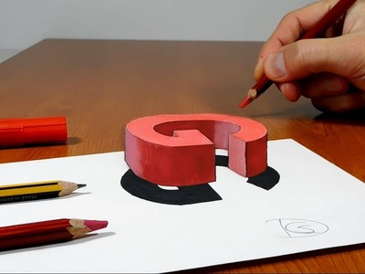Try to do 3D Trick Art on Paper, floating letter G
