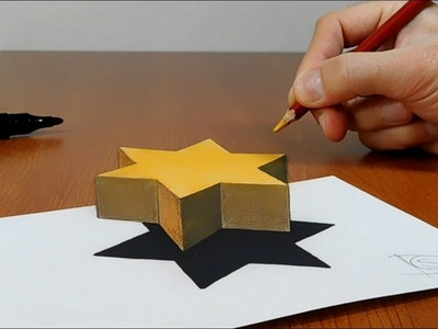 Try to do 3D Trick Art on Paper, Star