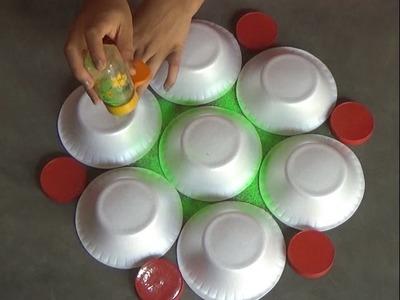 Very easy rangoli designs with bowls. Innovative rangoli.paper bowls art.creative Alpana