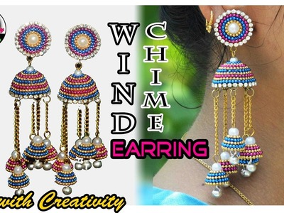Wind Chime Jhumka   Quilling paper Earring   DIY   Art with Creativity 190