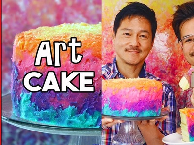 Abstract Rainbow Cake ( How to Make an Art Cake )