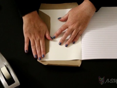 ASMR Covering Books with Brown Paper (silent, no talking)
