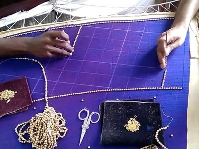 Bridal Raw Silk Lehenga With Mothi Bead Work and Dharkad Stones