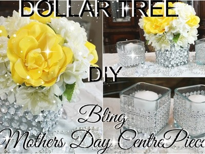 DIY DOLLAR TREE BLING MOTHERS DAY CENTREPIECE PART 3 PETALISBLESS ????