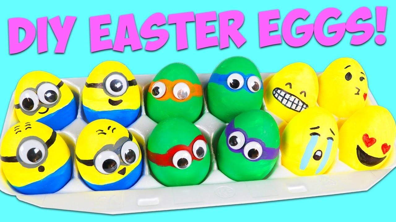 DIY Easter Eggs! How to Make Minions, Ninja Turtles, and Emoji Themed Easter Eggs!