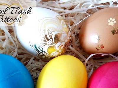 DIY Metallic Tattoos to Decorate Easter Eggs Cute Gold Egg Decorating Ideas by Jewel Flash Tattoos