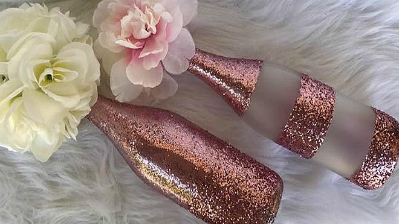 Diy rose gold and glitter wine bottle centerpiece wedding