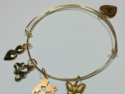 Easy DIY Adjustable, Expandable Bangle Charm Bracelet plus Easy Brass Cleaning
