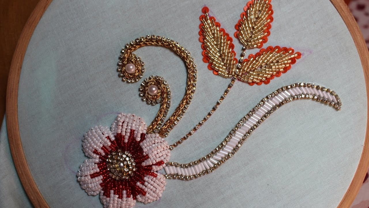Hand embroidery designs bead stitch and