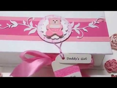 Handmade Baby Girl Announcement.Arrival Chocolate Boxes.