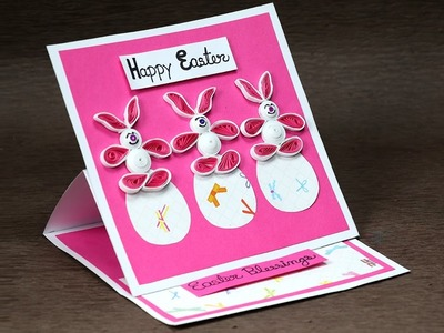 Handmade Easter Card with Super Cute Quilling Bunny and Eggs