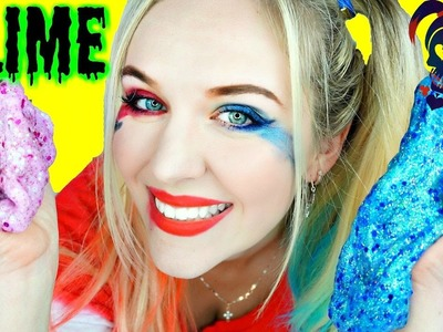 HARLEY QUINN GLITTER SLIME, Sparkly DIY with Dress Up Cosplay