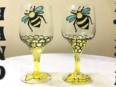 HoneyBee on Wine Glass   DIY - Glass Painting   Wedding Decoration Ideas