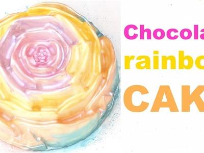 How to make a RAINBOW CHOCOLATE ROSE CAKE!