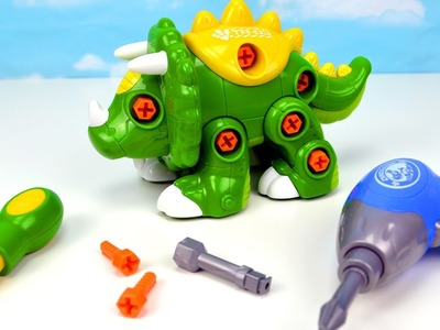 Learn DIY Create a Dinosaur Dino Names Triceratops Video Kids Toddler Toys Learning Children Babies