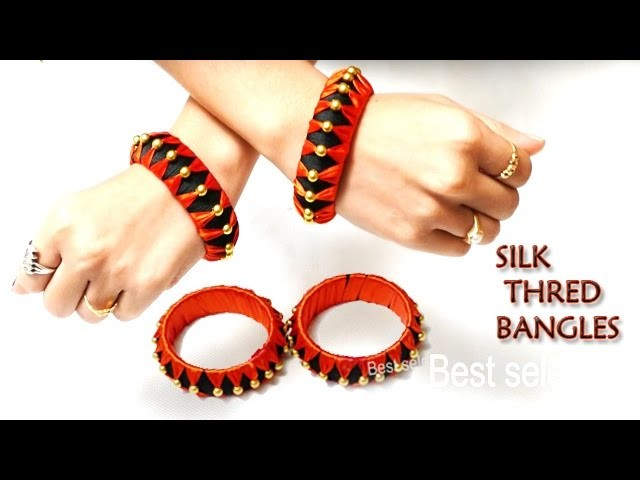 Makeing silk thread bangles with gold beads & satin ribben at Home | Silk Thread Bangle Tutorial