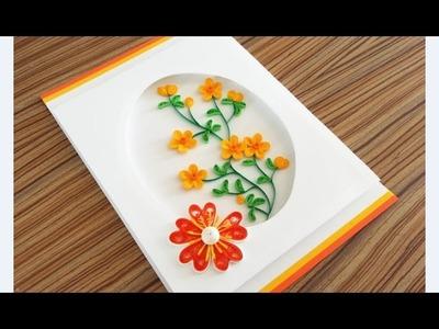Paper Quilling Flower For beginner Learning Video 17. Paper Flower Card