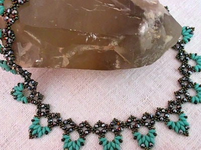 Braga beaded necklace with superduos and rondelles - Beading Tutorial