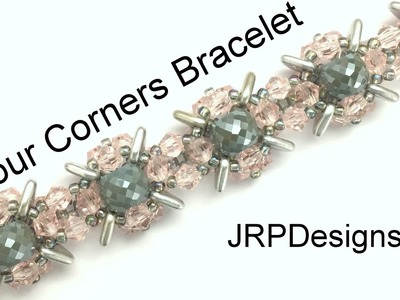 Four Corners Bracelet--Intermediate to Advanced Tutorial Left Hand