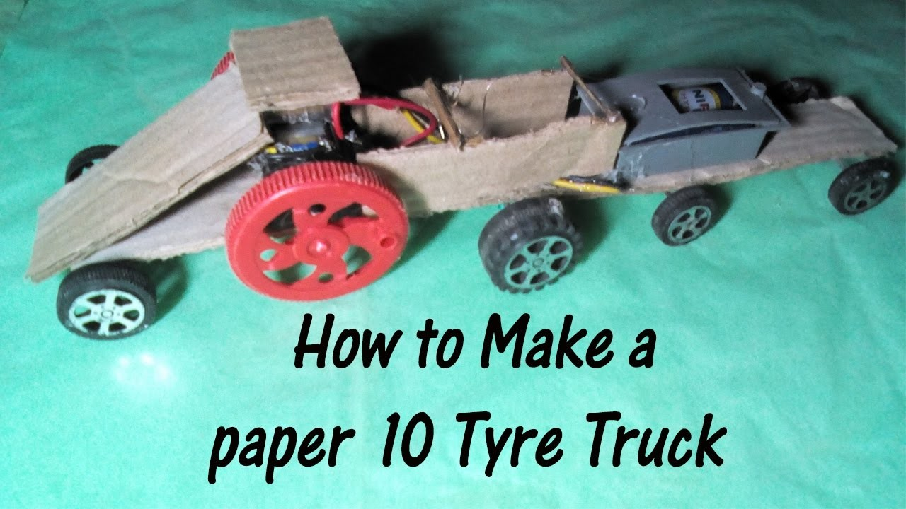 How To Make A Paper 10 Tyre Truck Paper Car Easy