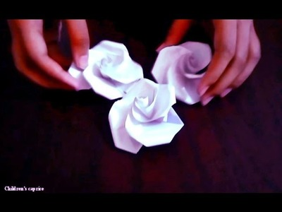 How To Make A Paper Flower.Paper Flowers Rose Easy For Children Tutorial