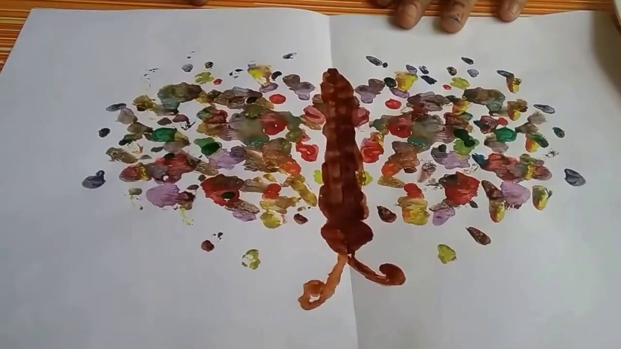 How to make a paper folding impression of a butterfly with water colours,fun watercolour painting fo