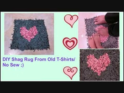 How To Make A Shag Rug From Old T-Shirts. No sew :)
