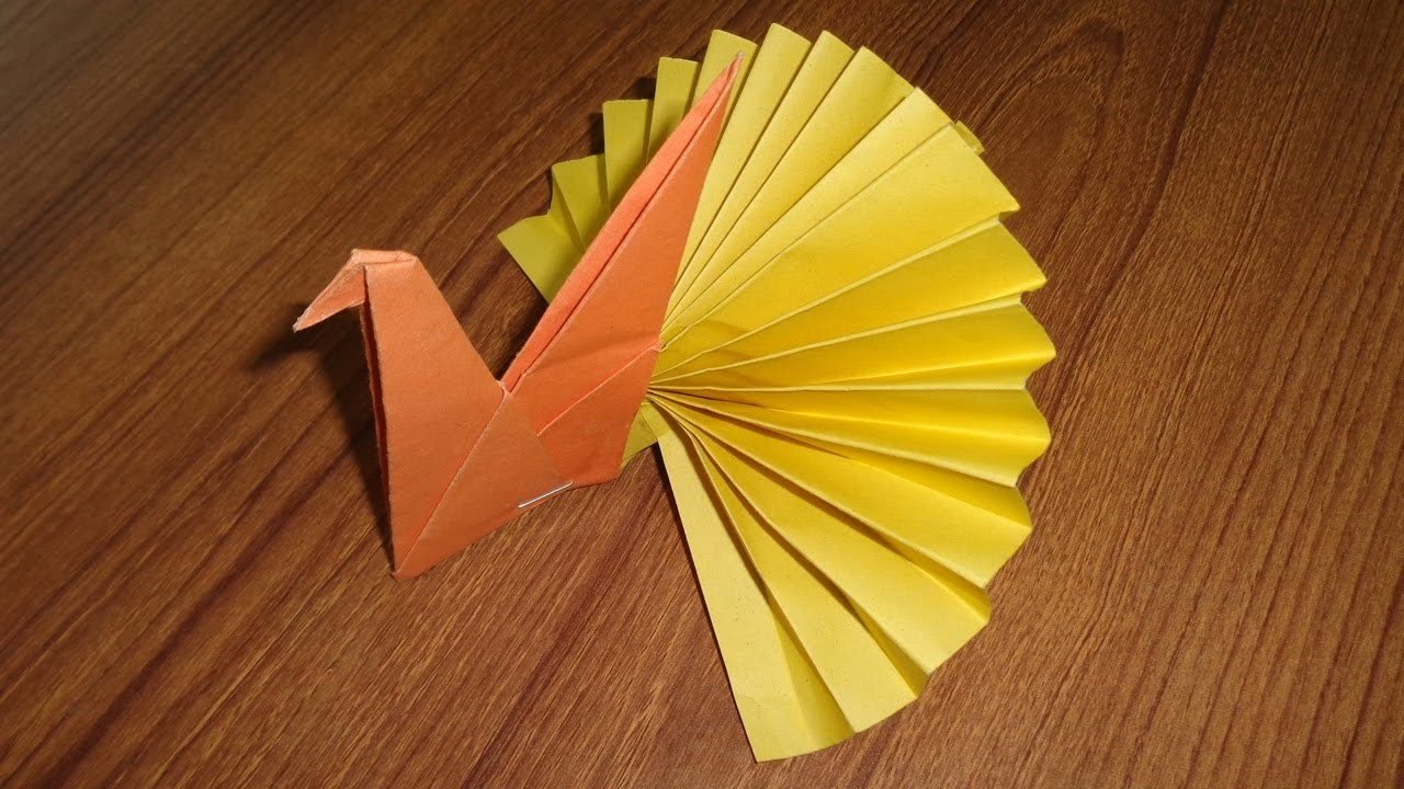 paper peacock making easy origami paper crafts for kids