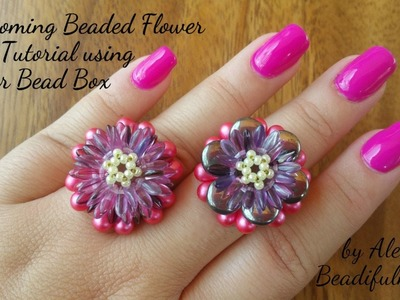 Blossoming Beaded Flower Ring Tutorial using Dollar Bead Box