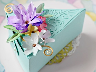 Cake Slice Box and Wrinkled Flowers Tutorial