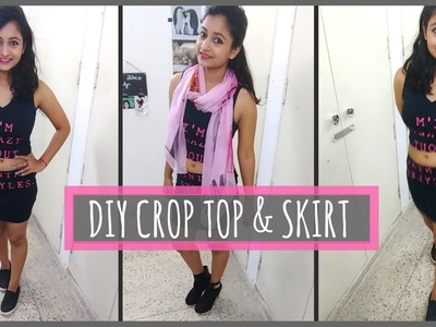 CONVERT OLD T-SHIRT into a CROP TOP and a SKIRT || Quick DIY